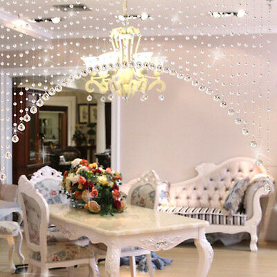 1M Glass Crystal Clear Beaded Hanging Curtain String Window Door Home Decor