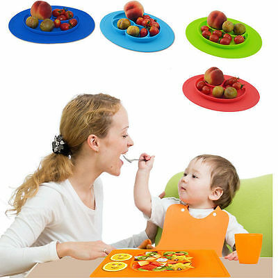 One-Piece Silicone Divided Dish Toddler Kid Baby Child Food Placemat Plates