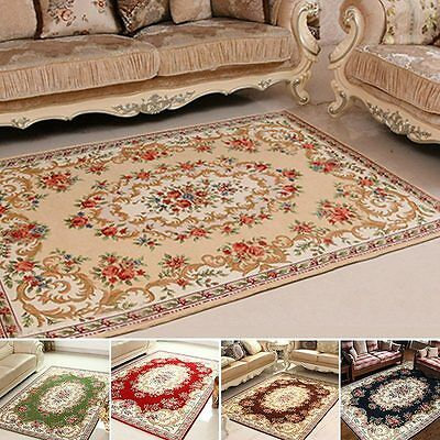 Vintage Area Rug Non-skid Jacquard Rectangle Carpet Living Room Floral Floor Mat