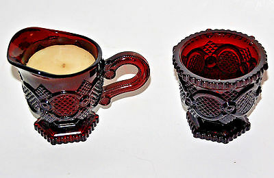 2-pc Avon Sugar bowl & Creamer candle - Cape Cod Ruby Red 1876 Collection