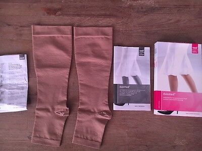 New Duomed Compression Socks Open Toe Calf Height Sz 25-27 Large Beige