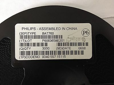 x3000pcs  **NEW**  PHILIPS BAT760,115, DIODE, SCHOTTKY, 1A, 20V, 2-Pin SOD-323