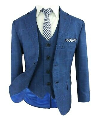 Kids Blue Checkered Suits Page Boys Formal Check Plaid Wedding Prom Suit