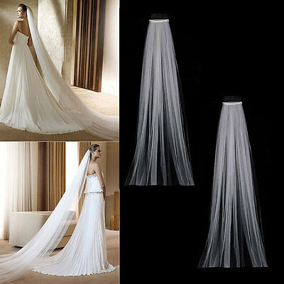 3M Bridal Long Wedding Veils Fancy Dress With Comb Cathedral Ivory White