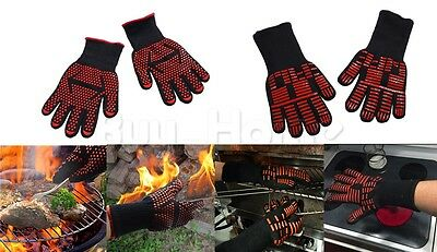 TWO Oven BBQ Gloves Kitchen Heat-Resistant to 932°F/500°C Cooking Silicone Mitts