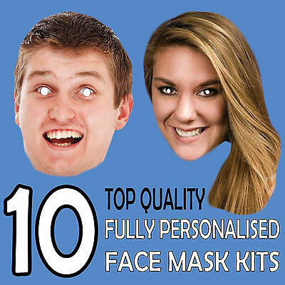 10 PERSONALISED CUSTOM FACE MASK KITS SEND A PICTURE PHOTO AND WE WILL PRINT ! b