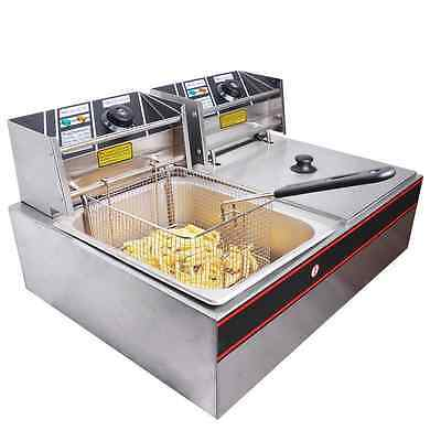 Yescom Commercial 12L 5000W Stainless Steel Electric Countertop Deep Fryer Dual