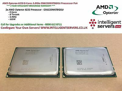 AMD Opteron 6220 8-Cores 3.0Ghz OS6220WKT8GGU Proccessor Pair