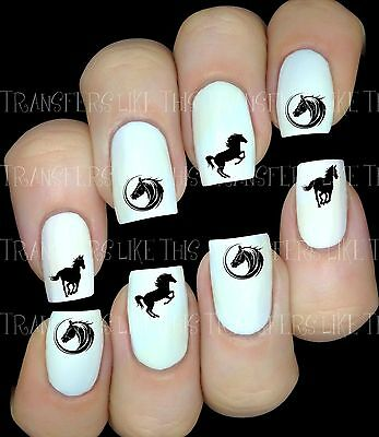 Chevaux Silhouette sticker autocollant ongles manucure nail art water decal déco