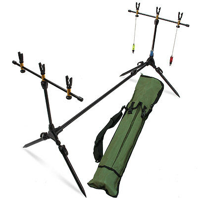Deluxe Sturdy Carp Fishing Rod Pod Stand Set With Hanger Indicators And Rests