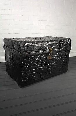 Antique Metal & Brass Crocodile Effect Storage Steamer Trunk By Two Brothers