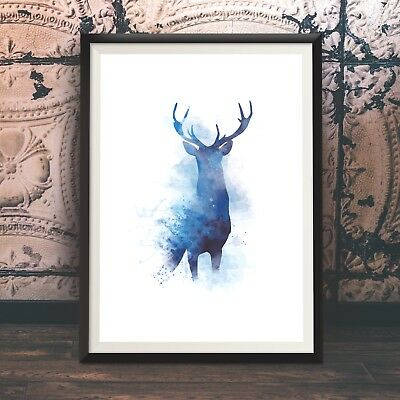 Stag Print, Watercolour Poster, Beautiful Hand Drawn Original Wall Art
