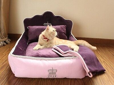 Pink and purple Princess Cat real bed Small dog washable luxury 2 sizes