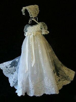 Noble High Quality Christening Dress With Bonnet Lace Baptism Gown Girls&Boys