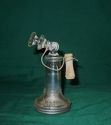 ANTIQUE CANDLESTICK TELEPHONE CANDY CONTAINER w/ LID - Jeanette PA Victory Glass