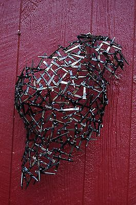 Female Torso Metal Wall Sculpture Welded Nails