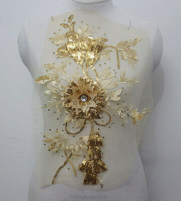 1Pcs Embroidery Tulle Sequin Crystal 3D Flower Lace Applique/Patch~Sew On Gold