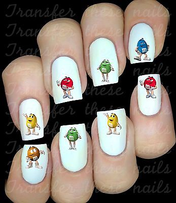 M&M'S COULEURS 30 Autocollant Stickers ongles nail art manucure water decal