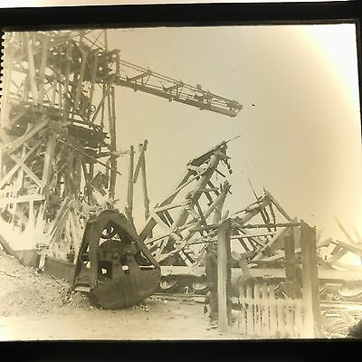 Vtg Magic Lantern Glass Slide Photo Lynn Mass Crane Fire Metal Bucket Timbers