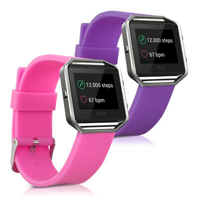 kwmobile 2X SILICONE SPARE BRACELET FOR FITBIT BLAZE DARK PINK FITNESS CLOCK