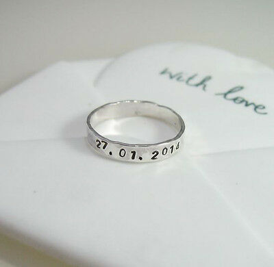 U & Me Sterling Silver Stacker Ring - Personalised Date/Name/Message - Handmade
