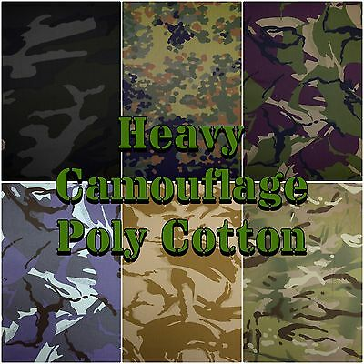 "60"" Wide Army Camouflage DPM MTP Khaki Heavy Poly cotton Fabric (Sold per 1/2m)"