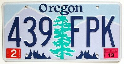 Oregon 2013 Graphic License Plate, 439 FPK, Douglas Fir Tree, Purple Mountains