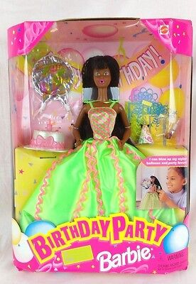 VINTAGE Birthday Party Barbie 1998 African American Girl #22906 Mattel Balloons