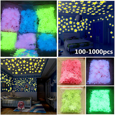 1000 Wall Glow In The Dark Star Stickers Kids Bedroom Nursery Room Ceiling Decor