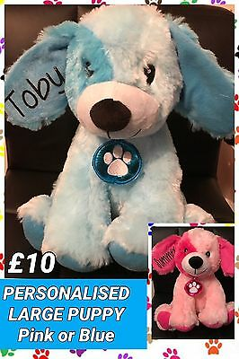 Large Personalised Pink Or Blue Dog/Puppy - Soft Toy - Plush