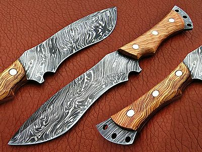 Custom Made Handmade Damascus Steel Hunting Bowie Knife With Leather Cover