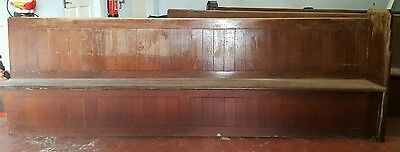 VINTAGE CHURCH PEW PITCHED PINE 10 FOOT x3