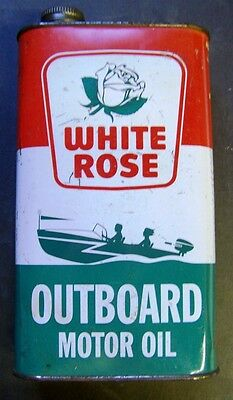 White Rose Outboard Motor - Power Mower Oil Tin Can - 1 Quart - Canadian