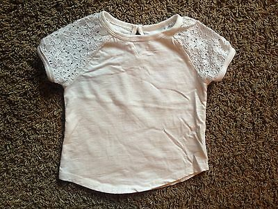 BABY GAP Toddler Girl's T Shirt Navy White LACE Short Sleeve Solid Layering 2T