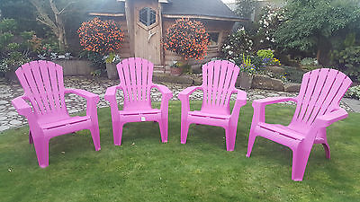 Ex-Display Adirondack Style Relaxed Progarden Garden Patio Chairs Set of 4 Pink