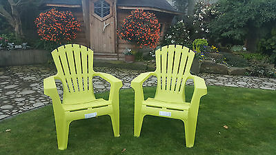 Ex-Display Adirondack Style Relaxed Progarden Garden Patio Chairs Set of 2 Lime