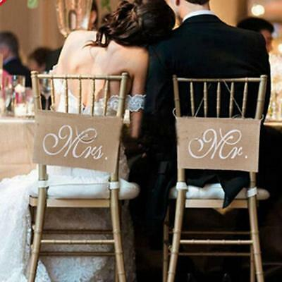 Mr /& Mrs Hessian Wedding Pennants Rustic chair back flags //signs Ginger Ray