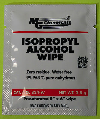 MG Chemicals 824-WX25 Isopropyl Alcohol Wipes (25 Individual Packs)