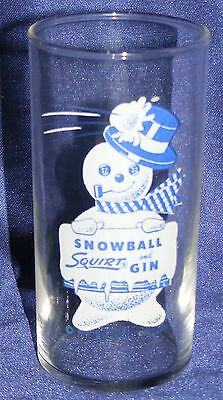SQUIRT SODA & GIN SNOWBALL 1950s Snowman DRINK GLASS  AUTHENTIC DATED 1955