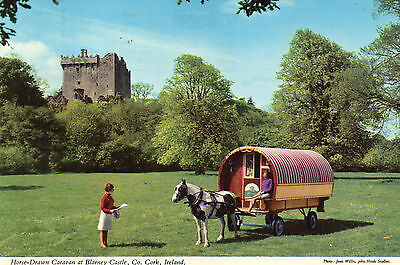 postcard Ireland  Horse drawn caravan  at Blaney Castle Co Cork posted