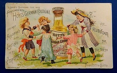 Antique Victorian 1892 Hoyt's German Cologne Trade Card