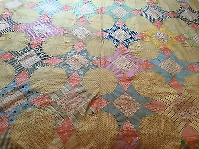 Antique Vintage Old Quilt Top Great Work Textile Made W/feed/flour Sacks