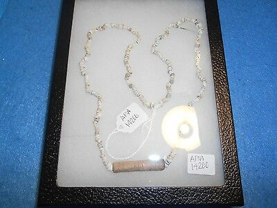 Ancient Hohokam/Anasazi Shell Bead Necklace w/Bone Bead in the center ABA -14200