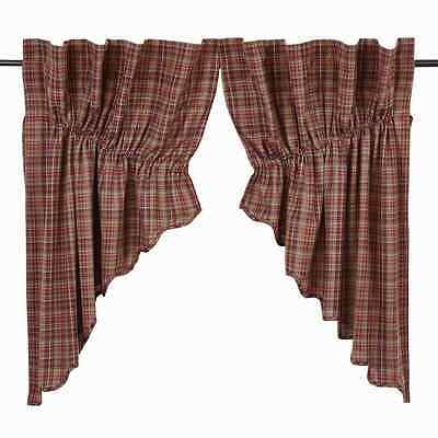 PARKER Scalloped Prairie Swag Set Lined Burgundy/Navy Plaid Lodge Rustic Cabin