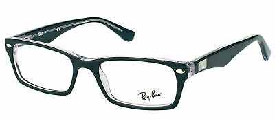 Ray Ban RX 5206 2034 Top Black On Crystal Plastic Rectangle Eyeglasses 54mm