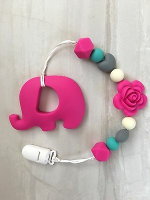Pink Elephant Silicone Teether Flower Beaded Clip Sophie Giraffe Free Delivery