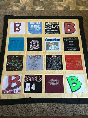 DEPOSIT:  CUSTOM 16 T-SHIRT MEMORY QUILT using your shirts Graduation, Memorial