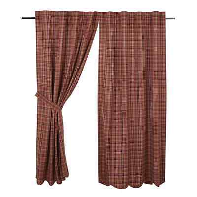 PARKER Scalloped Short Panel Set Burgundy/Navy Plaid Lined Primitive Rustic