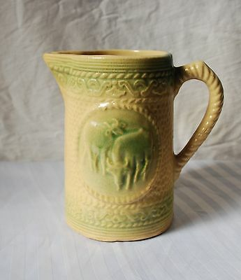 The Rarest Cream And Green Stoneware Cows Pitcher
