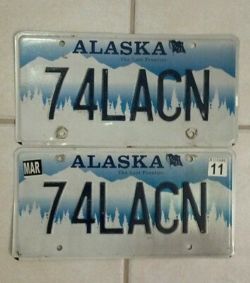 """Matching Expired PAIR of ALASKA Vanity License Plates """"74LACN"""" Authentic AK DMV"""